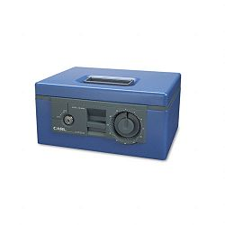 Security Box with Dual Lock Removable CashCoin Tray Steel Blue (CUI88550)