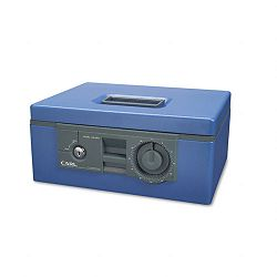 "12"" Wide Security Box with Dual Lock Removable CashCoin Tray Steel Blue (CUI88650)"