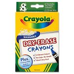 Dry Erase Crayons Assorted 8 per Pack (CYO985200)