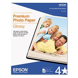 "Premium Photo Paper 68 lbs. High-Gloss 8-12"" x 11"" 50 SheetsPack (EPSS041667)"