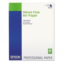 "Velvet Fine Art Paper 17"" x 22"" White 25 SheetsPack (EPSS042097)"