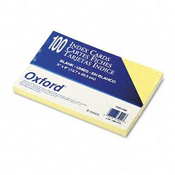 "Unruled Index Cards 5"" x 8"" Canary Pack of 100 (ESS7520CAN)"
