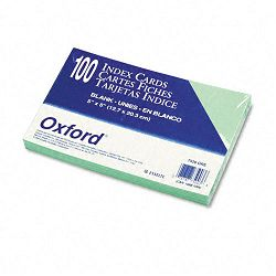"Unruled Index Cards 5"" x 8"" Green Pack of 100 (ESS7520GRE)"