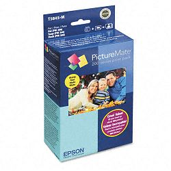 "PictureMate Combo Pack 200-Series Ink Cartridge with 100 Matte 4"" x 6"" Sheets (EPST5845M)"