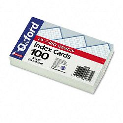 "Grid Index Cards 3"" x 5"" White Pack of 100 (ESS02035)"