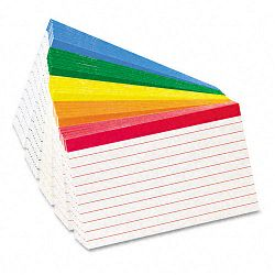 "Color Coded Bar Ruled Index Cards 3"" x 5"" Assorted Colors Pack of 100 (ESS04753)"