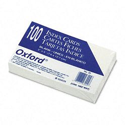 "Unruled Index Cards 3"" x 5"" White Pack of 100 (ESS30)"