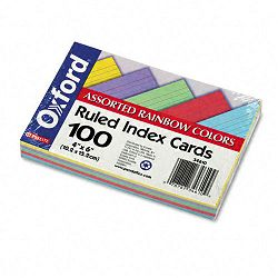 "Ruled Index Cards 4"" x 6"" BlueVioletCanaryGreenCherry Pack of 100 (ESS34610)"