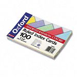 "Ruled Index Cards 5"" x 8"" BlueVioletCanaryGreenCherry Pack of 100 (ESS35810)"