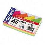 "Ruled Index Cards 3"" x 5"" Glow GreenYellow OrangePink Pack of 100 (ESS40279)"