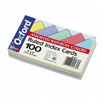 "Ruled Index Cards 3"" x 5"" BlueVioletCanaryGreenCherry Pack of 100 (ESS40280)"