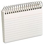 "Spiral Index Cards 3"" x 5"" White Pack of 50 (ESS40282)"