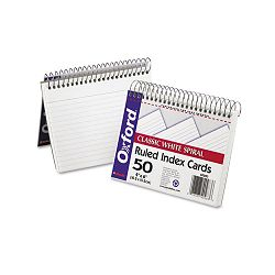 "Spiral Index Cards 4"" x 6"" White Pack of 50 (ESS40283)"