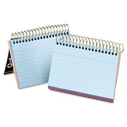 "Spiral Index Cards 3"" x 5"" BlueVioletCanaryGreenCherry Pack of 50 (ESS40285)"