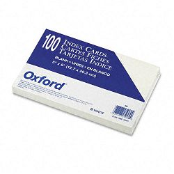 "Unruled Index Cards 5"" x 8"" White Pack of 100 (ESS50)"