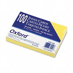 "Unruled Index Cards 4"" x 6"" Canary Pack of 100 (ESS7420CAN)"