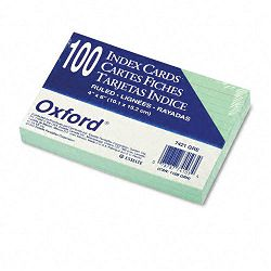 "Ruled Index Cards 4"" x 6"" Green Pack of 100 (ESS7421GRE)"