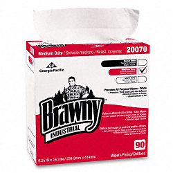 "Brawny Industrial Medium-Duty Premium Wipes 9-14"" x 16-38"" White Box of 90 (GEP2007003)"
