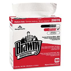 "Brawny Ind. Med-Duty Premium Wipes 9 14"" x 16 38"" White Box of 90 Carton of 10 (GEP2007003CT)"