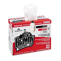 "Brawny Industrial Medium Duty Shop Towels 9 110"" x 12 25"" Box of 140 Carton of 10 (GEP25003CT)"