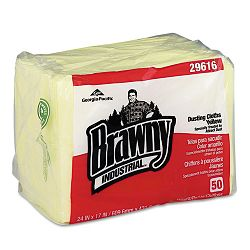 "Brawny Industrial Dusting Cloths Quarterfold 17"" x 24"" Yellow Pack of 50 Carton of 4 (GEP29616)"