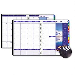 "Earthscapes Executive Hardcover WeeklyMonthly Planner 8-12"" x 11"" Black (HOD27392)"