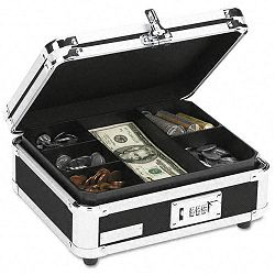 Plastic & Steel Cash Box with Tumbler Lock Black & Chrome (IDEVZ01002)
