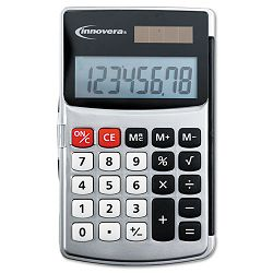 Handheld Calculator Hard Flip Case 8-Digit LCD Dual Power Silver (IVR15920)