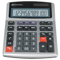 15971 Large Digit Commercial Calculator 12-Digit LCD Dual Power Silver (IVR15971)
