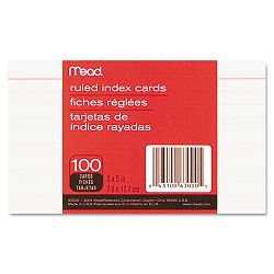 "Index Cards College Ruled 3"" x 5"" White Pack of 100 (MEA63000)"