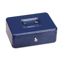 "Steelmaster Personal Security Box 9-34""w x 7""h x 3-12""d 2 Keys Blue (MMF221705008)"