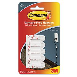 Cord Clip with Adhesive White Pack of 4 (MMM17017)