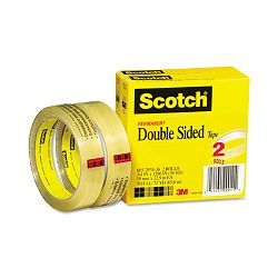 "665 Double-Sided Tape 34"" x 1296"" 3"" core Transparent 2 Rolls (MMM6652P3436)"