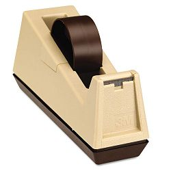"Heavy Duty Weighted Desktop Tape Dispenser 3"" core Plastic PuttyBrown (MMMC25)"