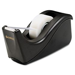 "Value Desktop Tape Dispenser 1"" core Two-Tone Black (MMMC60BK)"