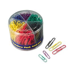 Plastic Coated Paper Clips No. 2 Size Assorted Colors Pack of 450 (OIC97227)