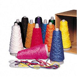 Trait-Tex Double Weight Yarn Cones 2 oz Assorted Colors Carton of 12 (PAC00590)