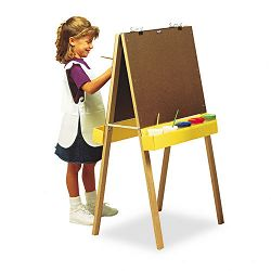 "Double-Sided Easel 46"" High Pressboard Natural Wood Finish (PAC74380)"