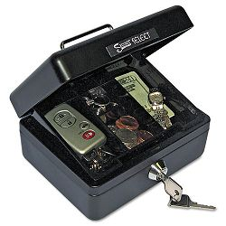 Select Individual-Size Cash Box 4-Compartment Tray 2 Keys BlackSilver Handle (PMC04801)