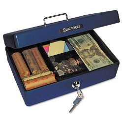 Select Compact-size Cash Box 4-Compartment Tray 2 Keys Blue with Silver Handle (PMC04803)