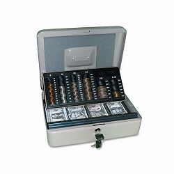 3-in-1 Cash-Change-Storage Steel Security Box with Key Lock Pebble Beige (PMC04967)