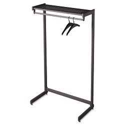 "36"" Wide Single-Side Garment Rack with Shelf Powder Coated Textured Steel Black (QRT20213)"
