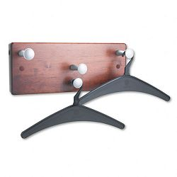 Wall Rack Four KnobsTwo Hangers Wood Mahogany (QRT20521)