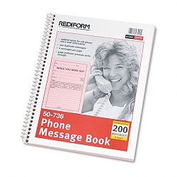 "Wirebound Message Book 4"" x 5-12"" Two-Part 200 Forms (RED50736)"