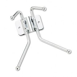 Wall Rack Two Ball-Tipped Double-Hooks Metal Chrome (SAF4160)