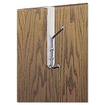 Over-The-Door Double Coat Hook Chrome-Plated Steel Satin Aluminum Base (SAF4166)