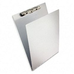"Aluminum Clipboard with Writing Plate 38"" Capacity Holds 8-12""w x 12""h Silver (SAU12017)"