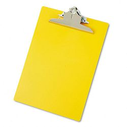 "Plastic Antimicrobial Clipboard 1"" Capacity Holds 8-12""w x 12""h Yellow (SAU21605)"