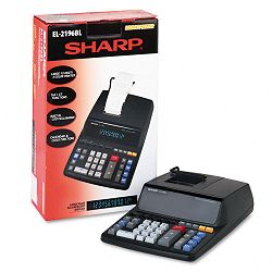 EL2196BL Two-Color Printing Calculator 12-Digit Fluorescent BlackRed (SHREL2196BL)