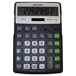 EL-R297BBK Recycled Series Calculator with Kick-stand 12-Digit LCD Black (SHRELR297BBK)